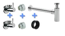Uni-2 luxe fontein/wast. aansluitset+sifon chr