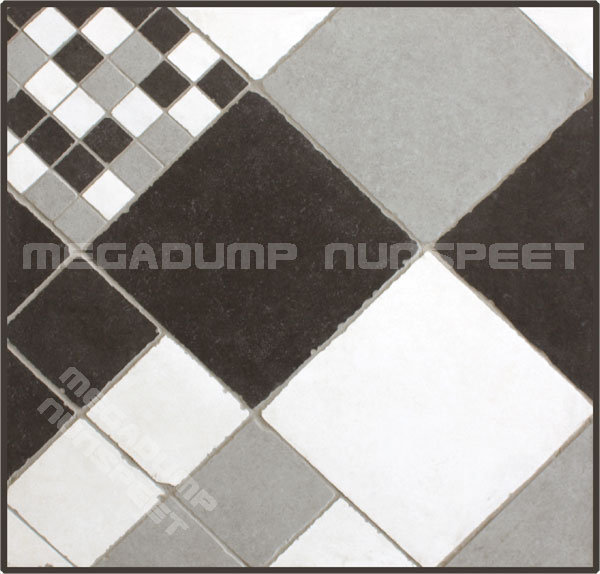 Getrommelde vloertegels    wandtegels grijs zwart wit   Megadump