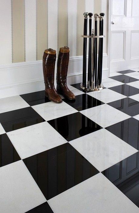 Zwarte Plavuizen 60 X 60.Vloertegels 60 X 60 Gepolijst Hoogglans Zwart Wit