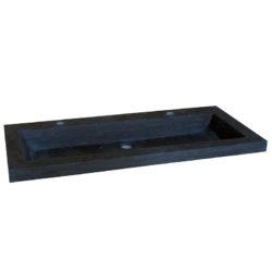 Wastafel hardsteen compact 100x38x5 cm met 2 kraangaten