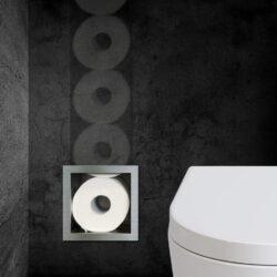 RVS inbouw toiletrolhouder voor 6 reserve rollen