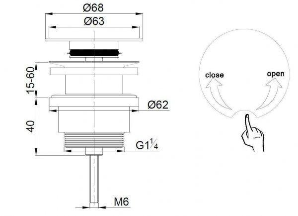 Luxe draaiwaste 5/4 laag model chroom