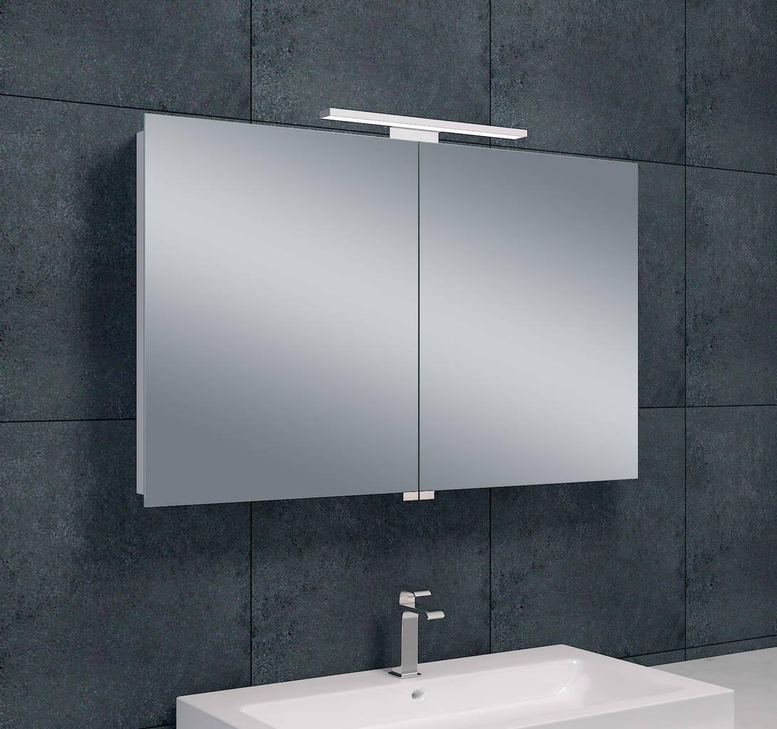 Luxe spiegelkast led verlichting 100x60x14cm megadump for Spiegelkast badkamer 60 cm