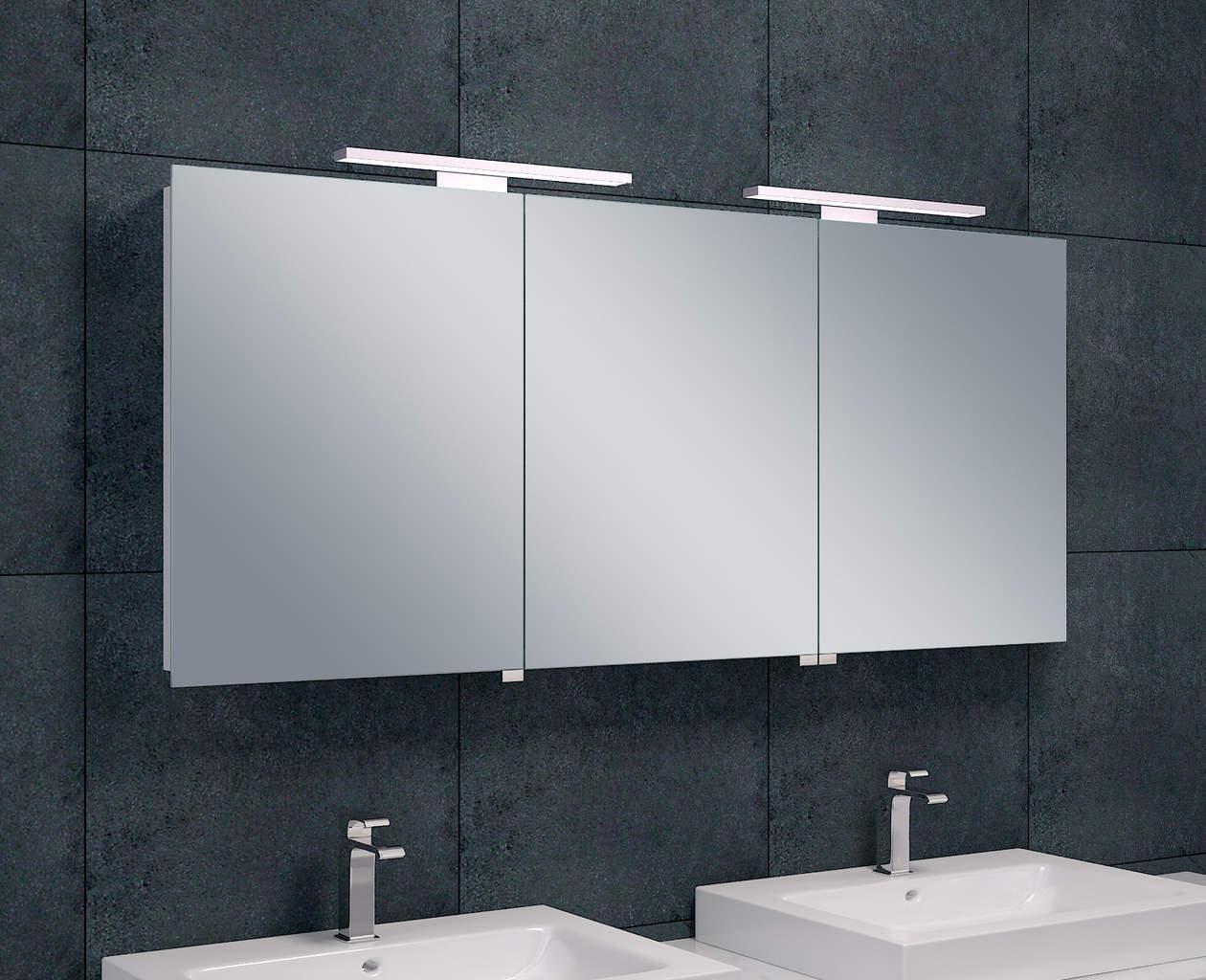 Luxe spiegelkast led verlichting 140x60x14cm megadump for Led verlichting spiegelkast badkamer