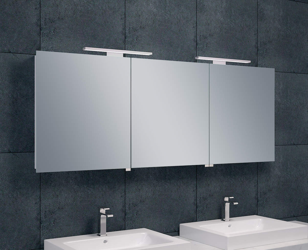 luxe spiegelkast led verlichting 160x60x14cm megadump. Black Bedroom Furniture Sets. Home Design Ideas