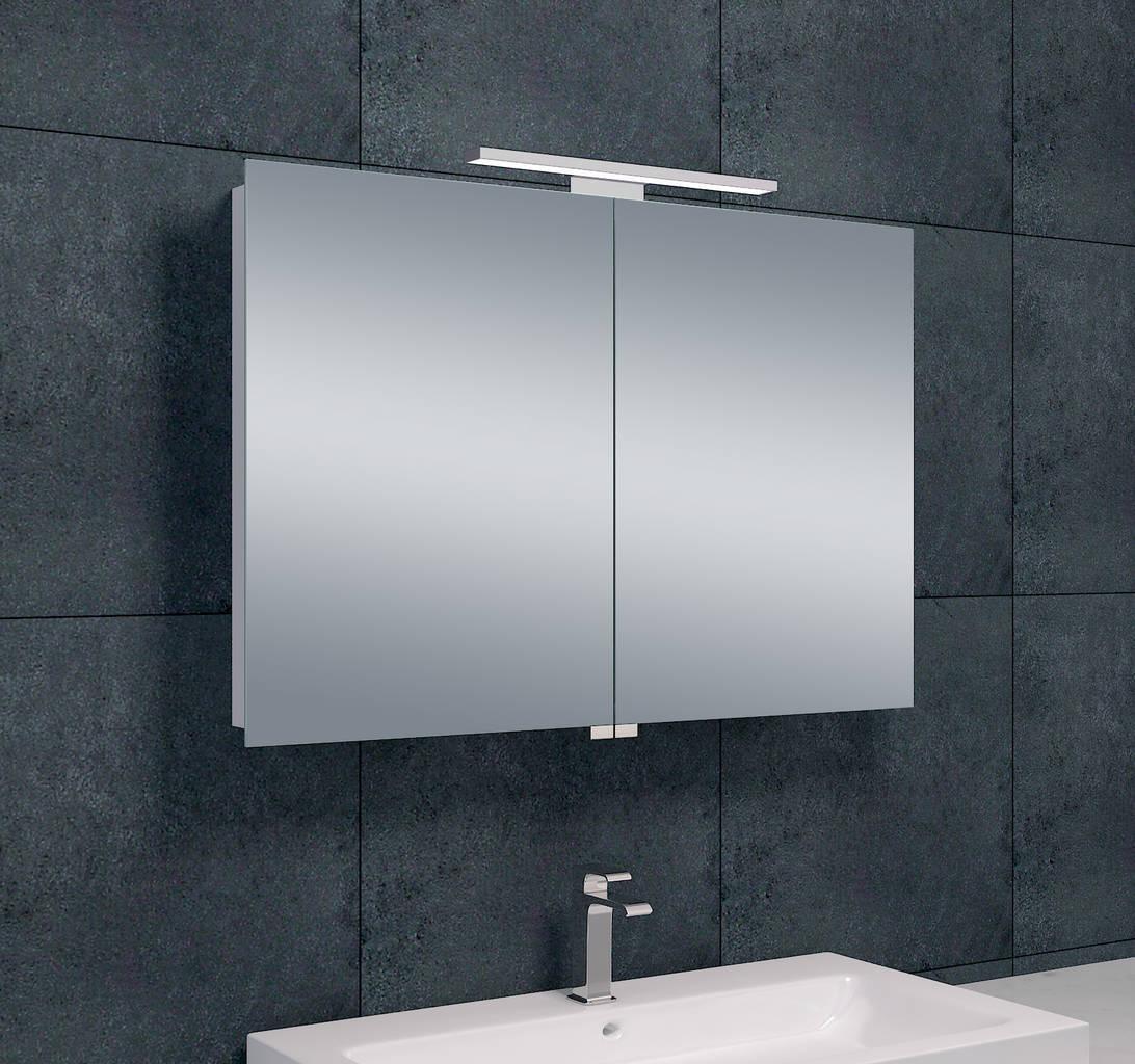 Luxe spiegelkast led verlichting 90x60x14cm megadump for Led verlichting spiegelkast badkamer