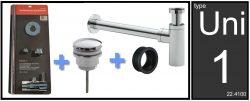 Uni-1 luxe fontein/wast. aansluitset+sifon chr