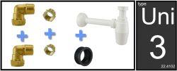 Uni-3 fontein/wast. aansluitset+PVC sifon