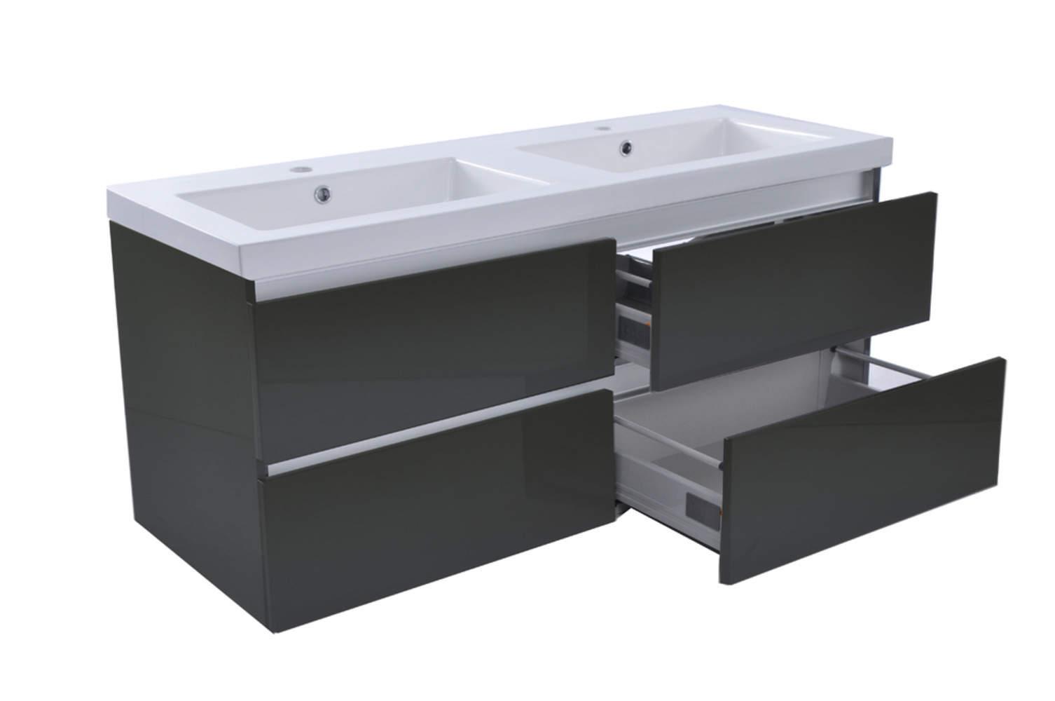 Vision meubel keramische dubbele wastafel hoogglans grijs