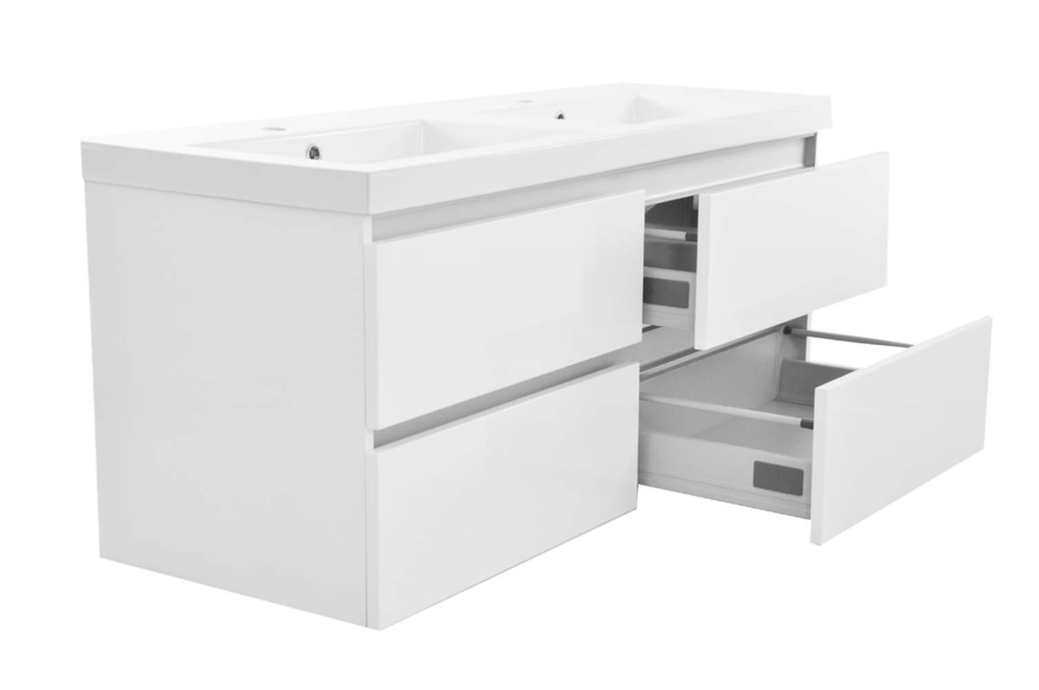 Vision meubel keramische dubbele wastafel wit megadump