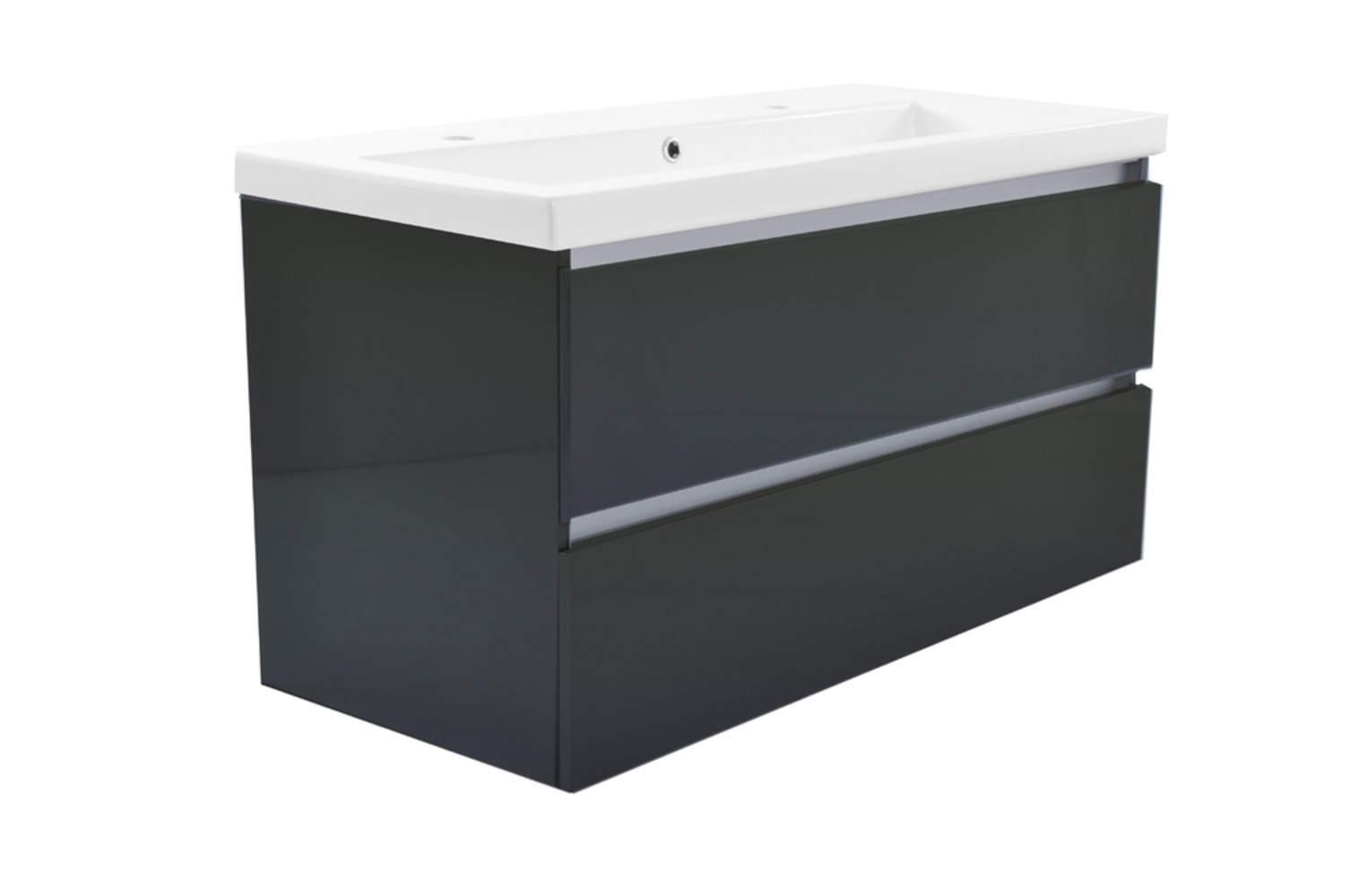 Vision meubel keramische wastafel hoogglans grijs megadump