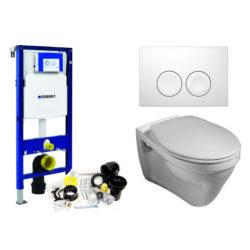 Vlakspoel toilet met Geberit inbouwreservoir complete set