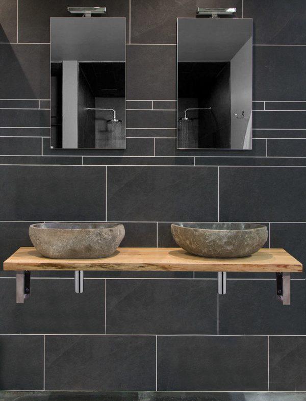 Moetz badkamermeubel houten wastafel + waskomen