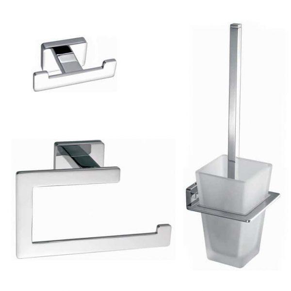Toilet - badkamer accessoires vierkant chroom set 01
