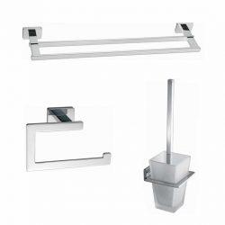 Toilet - badkamer accessoires vierkant chroom set 02