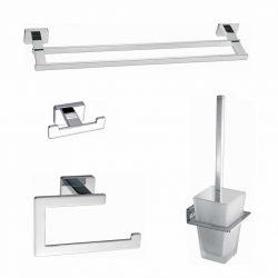 Toilet - badkamer accessoires vierkant chroom set 03