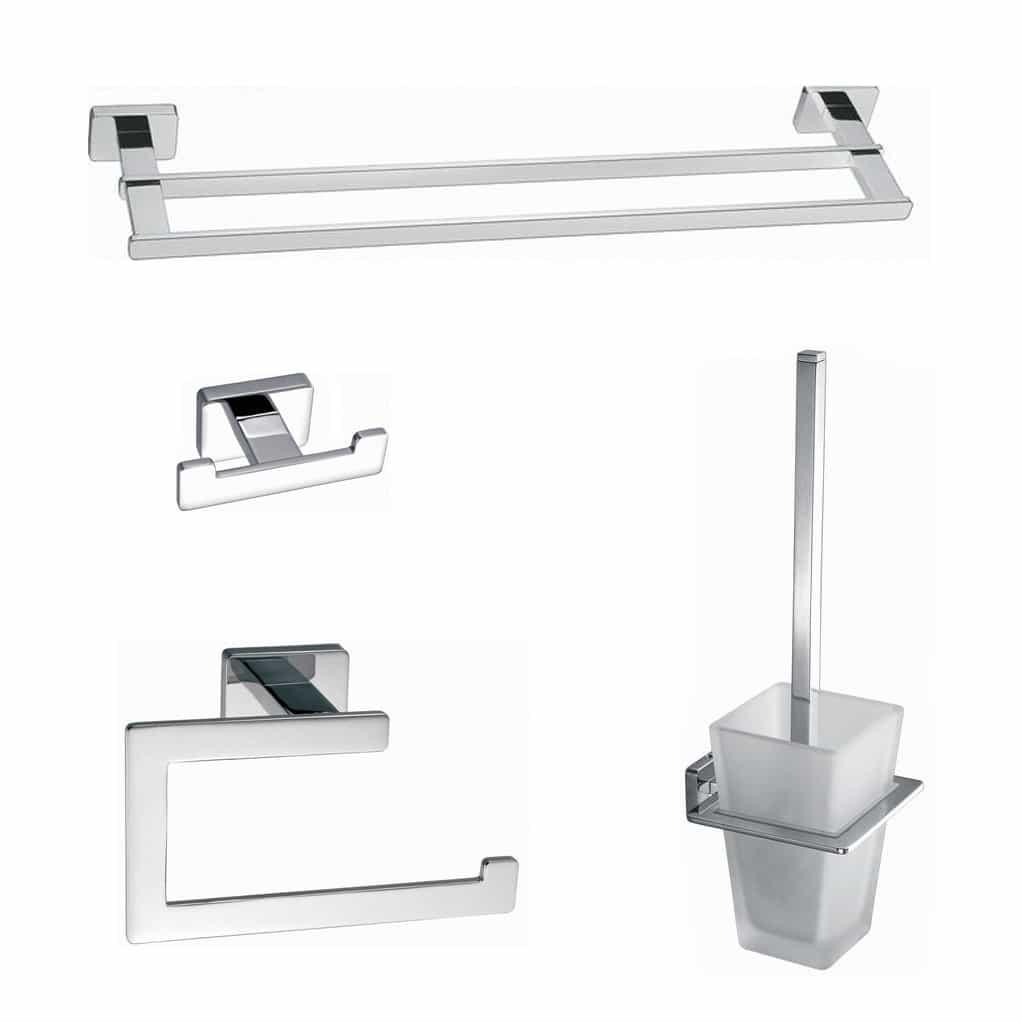 Toilet - badkamer accessoires vierkant chroom set 03 | Megadump