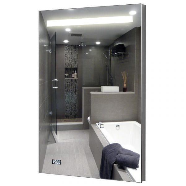Spiegel met verlichting en digitale klok 58cm