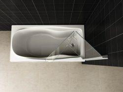 Badwand 2-delig inklapbaar 6mm NANO chroom
