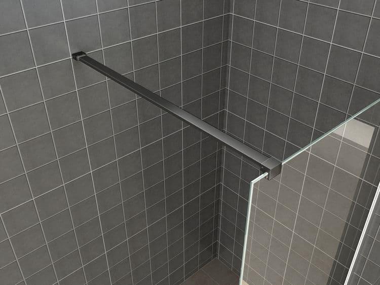 Inloopdouche Met Kraan : Inloopdouche safety glass zwart muurprofiel 10mm nano megadump