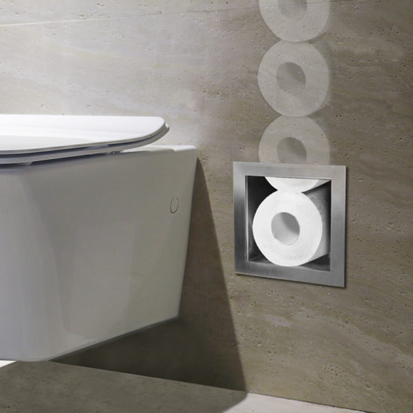 RVS inbouw toiletrolhoudervoor 6 closetrollen