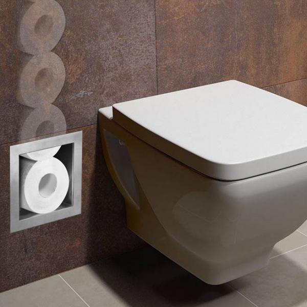 rvs inbouw-nis voor closetrollen toiletrolhouder