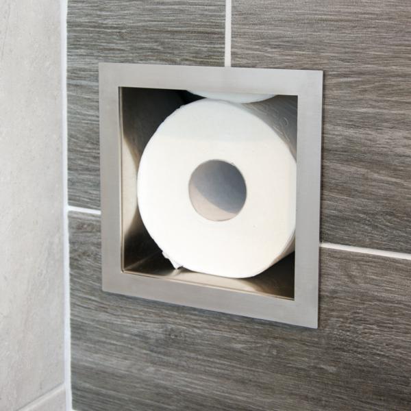 rvs inbouw-nis voor reserve closetrollen toiletrolhouder