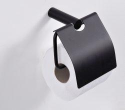 Saniflex black series toiletrolhouder met klep zwart