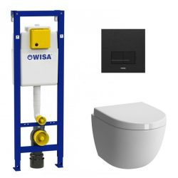 Wisa wandcloset toilet set met mat zwart bedieningspaneel