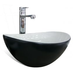 Waskom ovaal zwart wit keramiek 39x32x17,5cm