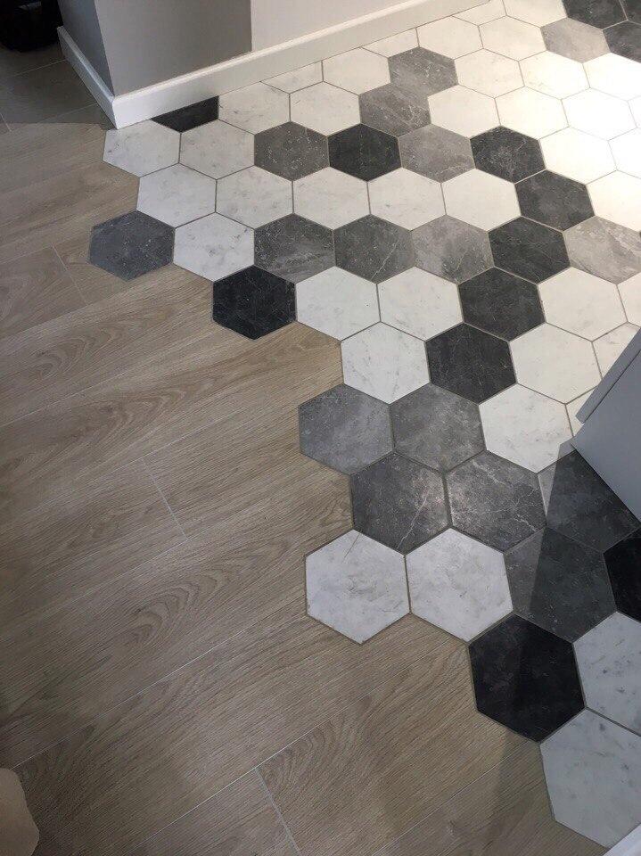 Hexagon Tegels Zeshoekig Zwart Wit Grijs Mix Megadump