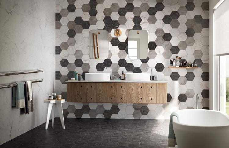 Hexagon Tegels Badkamer : Hexagon tegels zeshoekig zwart wit grijs mix megadump
