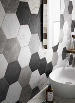 Hexagon tegels zeshoekig zwart wit grijs mix