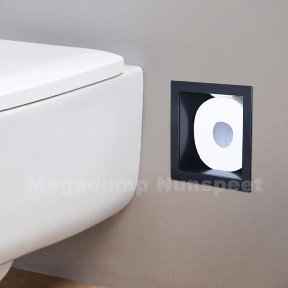 inbouw toiletrolhouder zwart poedercoating