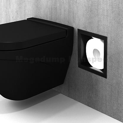 Inbouw reserve toilet rolhouder zwart rvs voor 6 closet rollen