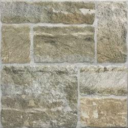 Romaans verband stenen tegels in verschillende formaten beige