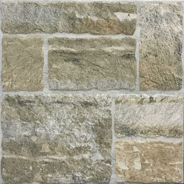 Romaans verband rots stenen tegels in verschillende formaten beige