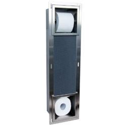 Inbouw reserve rolhouder met toiletrolhouder RVS