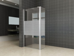 Douche zijwand+scharnierprofiel-links 350x2000 10mm NANO gedempt matglas