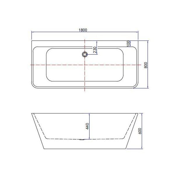 Silmo semi vrijstaand wandmodel bad 180x80x60cm