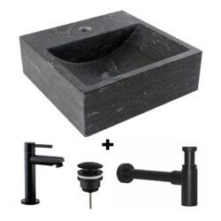 Hardsteen fontein Saniflex Square Black edition