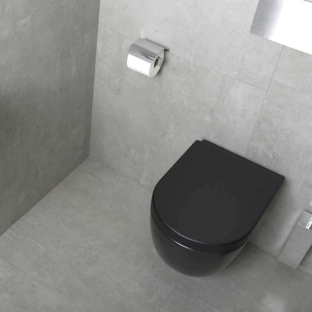 Plieger Toiletzitting Softclose.Plieger Randloos Wandcloset Mat Zwart Inclusief Softclose Zitting Megadump
