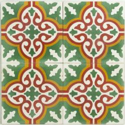 Portugese cement tegels 20x20 groen rood oranje type 03