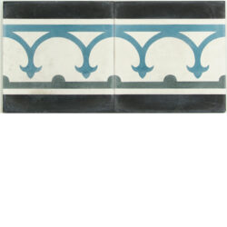 Portugese cement tegels 20x20 afwerk rand antraciet licht blauw type 05