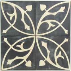 Portugese cement tegels 20x20 antraciet bloem motief type 06