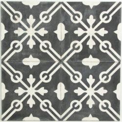 Portugese cement tegels 20x20 zwart grijs type 07