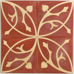 Portugese cement tegels 20x20 rood geel met bloemmotief type 08