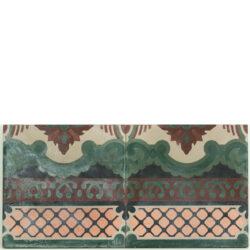 Portugese cement tegels 20x20 afwerk rand paars groen type 11