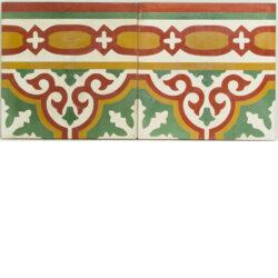 Portugese cement tegels 20x20 afwerk rand rood groen oranje type 12