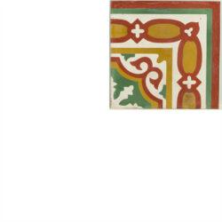 Portugese cement tegels 20x20 hoekstuk rood groen oranje type 13